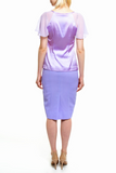 Angie Lau Off Centre Split Purple Pencil Skirt