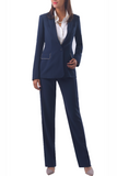 Isabella Wren's Belize Navy Crepe Blazer with White Accents (front view)