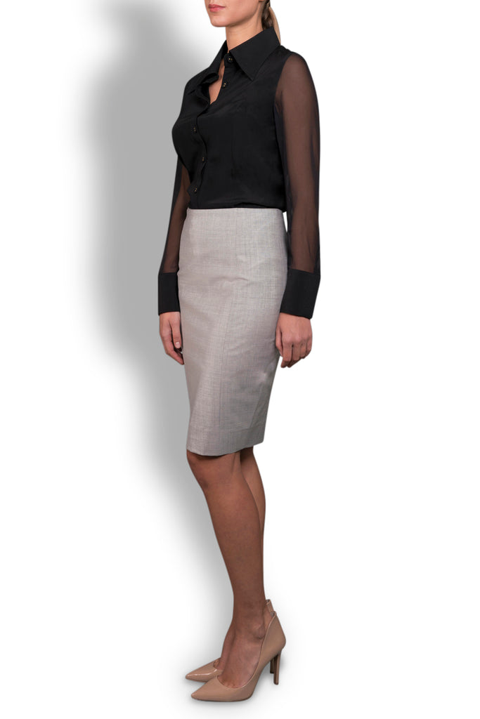 Silver Grey Super 120 Stretch Wool Skirt