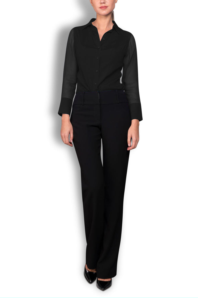 Crepe de Chine Black Silk Wide Collar Blouse