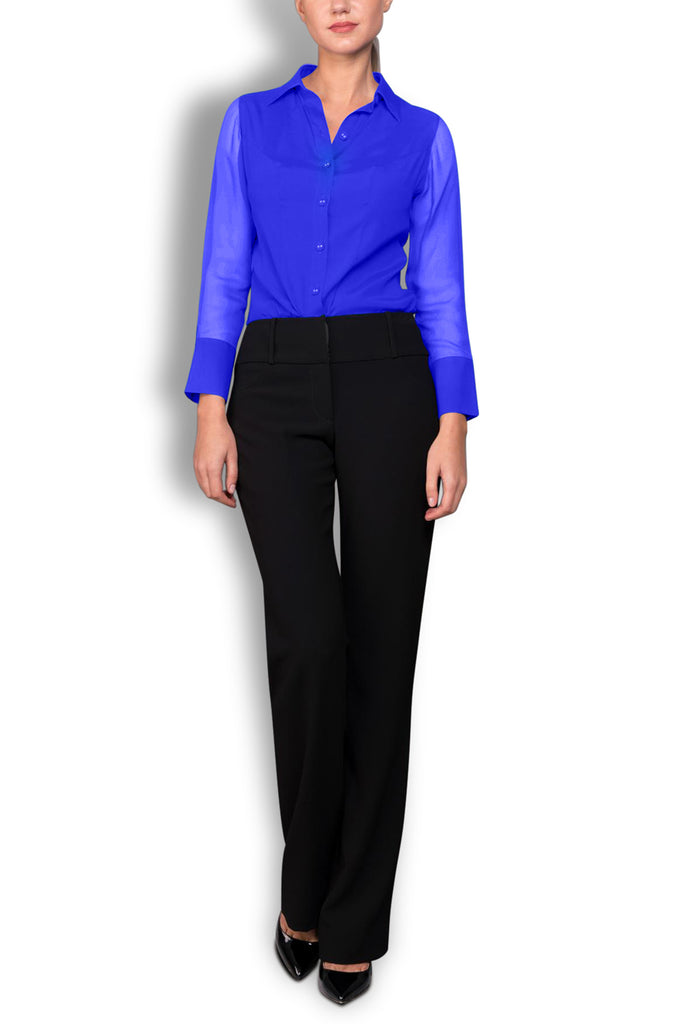 Crepe de Chine Blue Silk Wide Collar Blouse