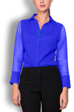 Matte Blue Silk Wide Collar Blouse