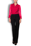 Crepe de Chine Dark Red Silk Wide Collar Blouse