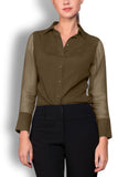 Crepe de Chine Gold Silk Wide Collar Blouse