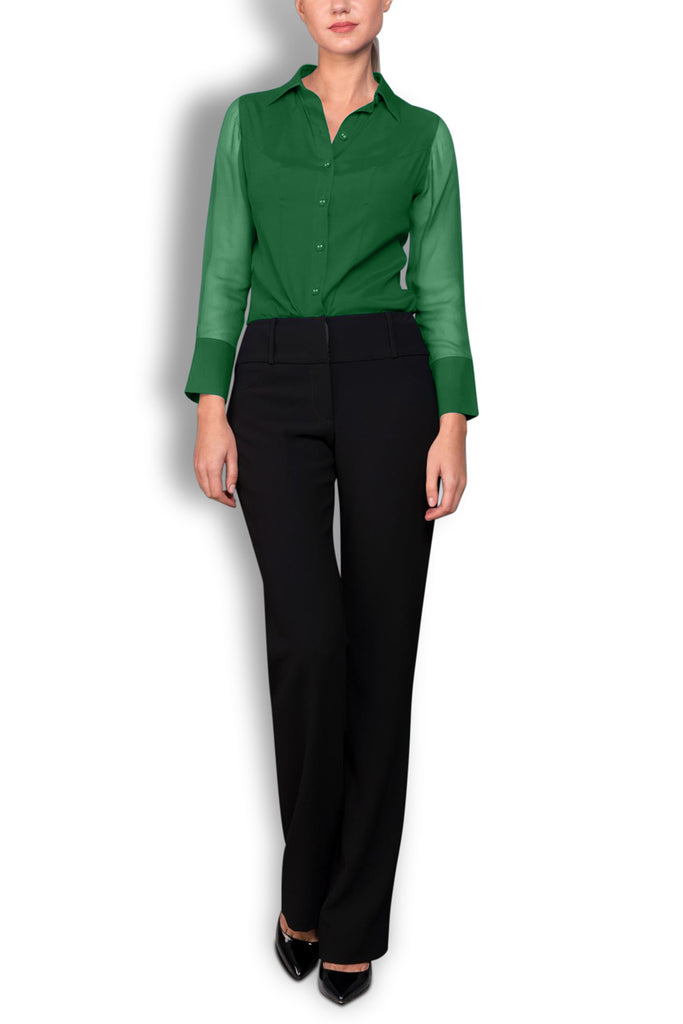 Crepe de Chine Green Silk Wide Collar Blouse