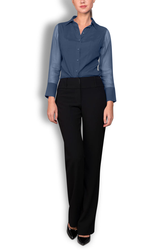 Crepe de Chine Navy Silk Wide Collar Blouse