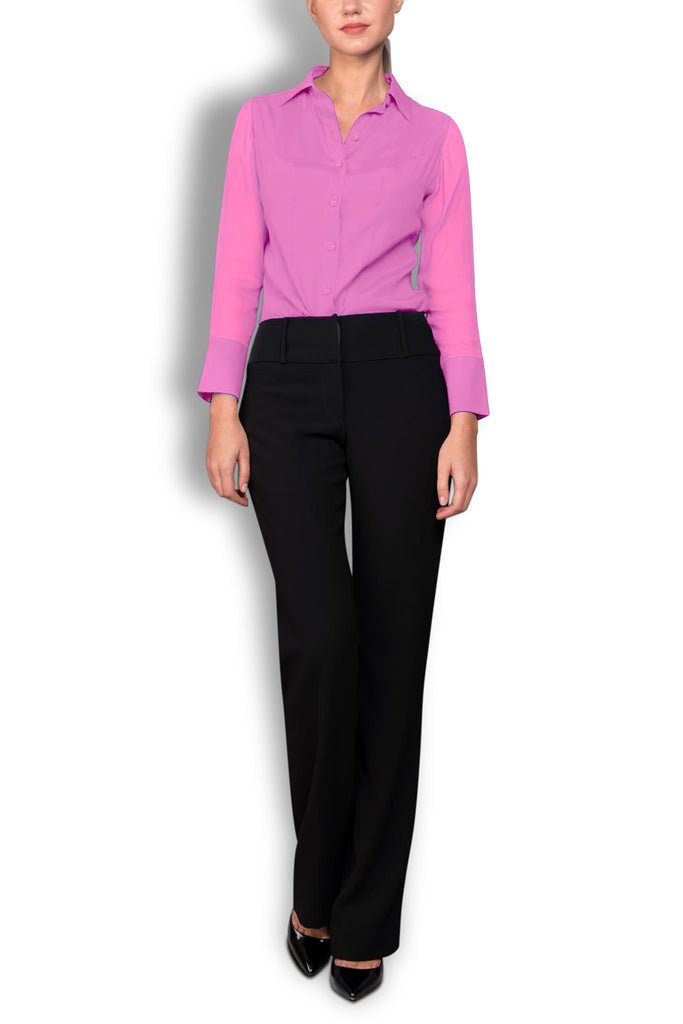 Crepe de Chine Pink Silk Wide Collar Blouse