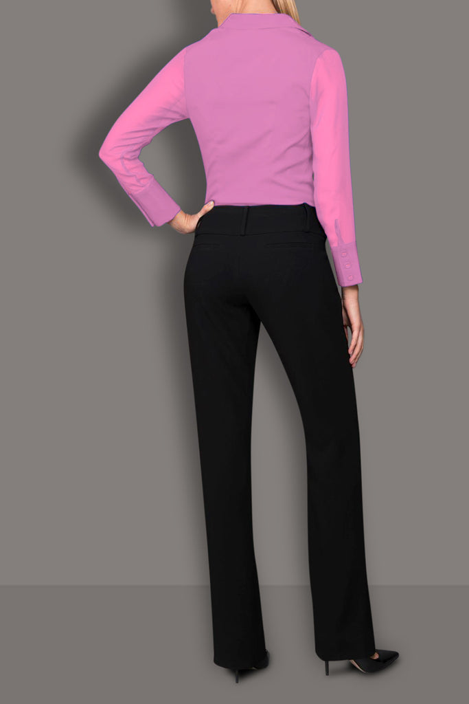 Matte Pink Silk Wide Collar Blouse