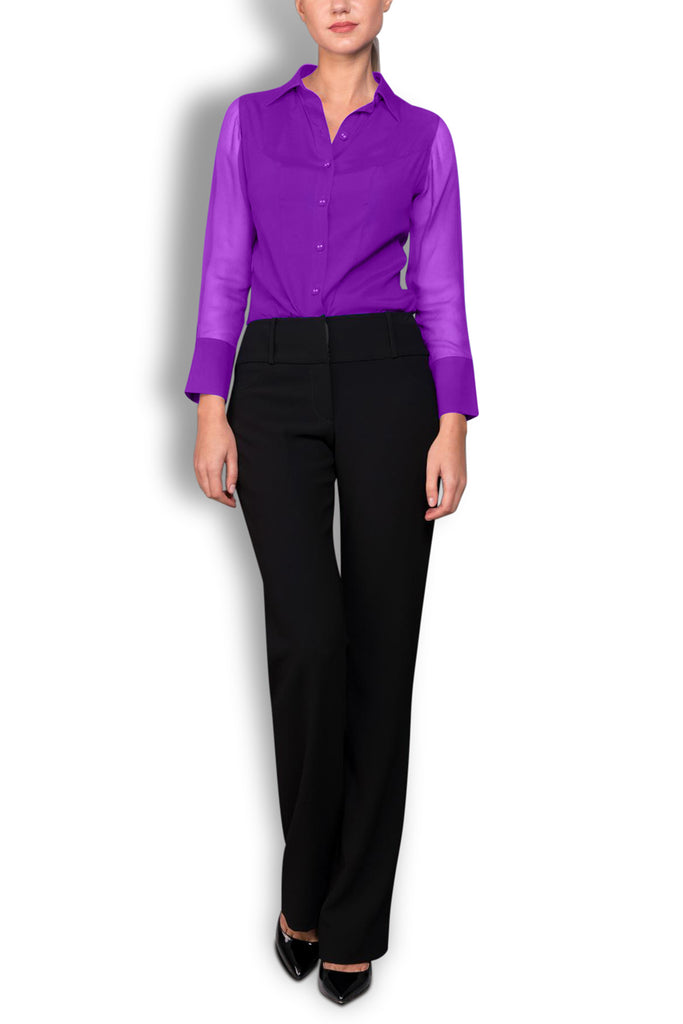 Crepe de Chine Purple Silk Wide Collar Blouse