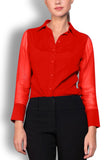 Crepe de Chine Red Silk Wide Collar Blouse
