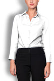 Crepe de Chine White Silk Wide Collar Blouse