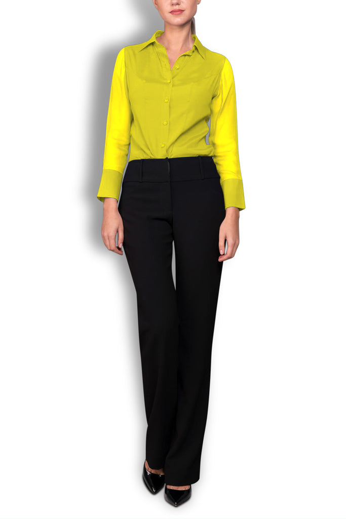 Crepe de Chine Yellow Silk Wide Collar Blouse