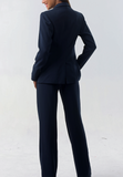 Isabella Wren's Belize Navy Crepe Blazer with White Accents (reverse view)