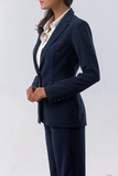 Isabella Wren's Belize Navy Crepe Blazer with White Accents (side view)