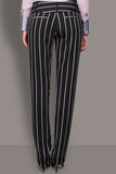 Ebony and Silver Crepe Trousers