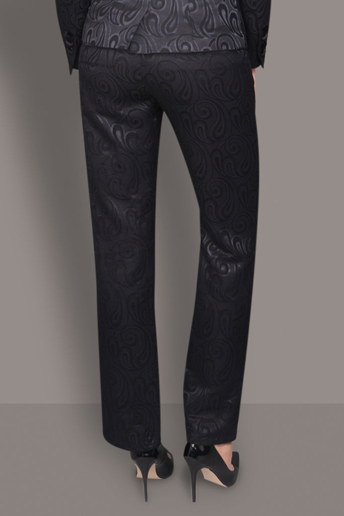 Paisley Jacquard Black Wool and Silk Pants