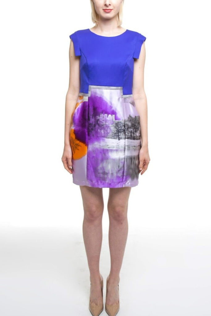 Purple Wool Dress With Print Silk