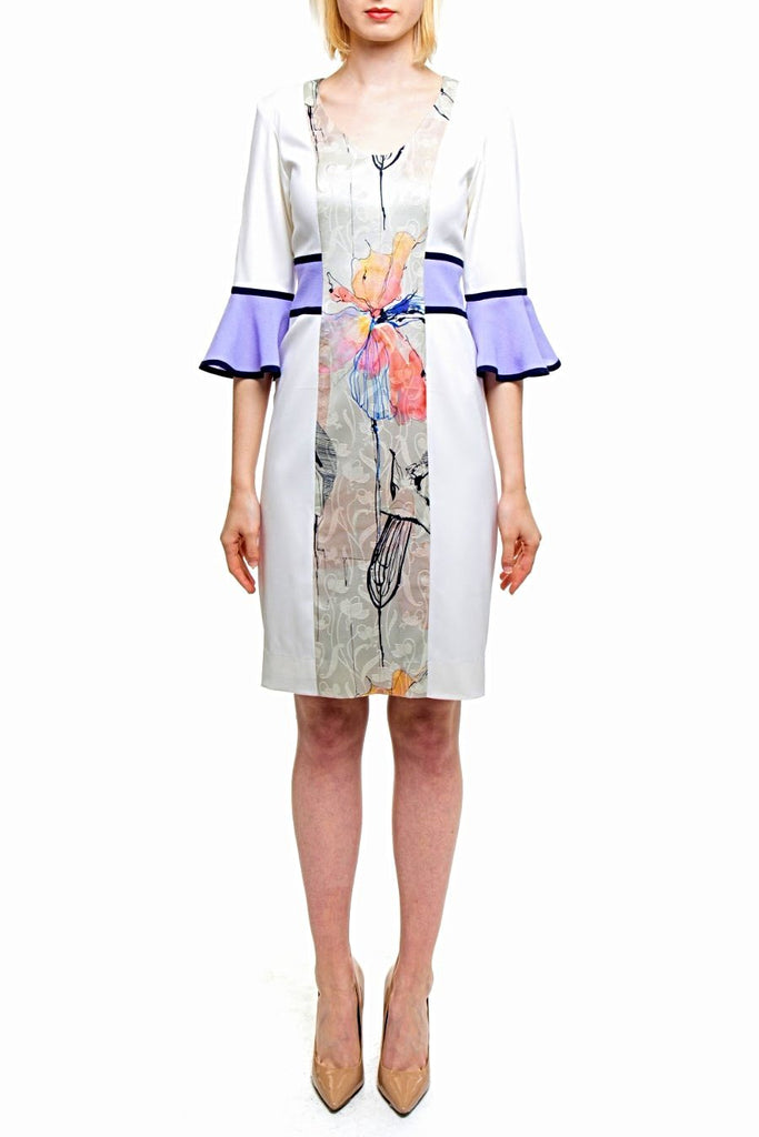 Angie Lau Cream Vertical Floral Jacquard Dress
