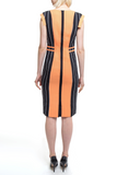 Peach Striped Panel Dress