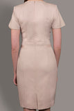 The Sacha- Beige Stretch Italian Wool Short Sleeve Dress