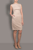 The Rose-Beige Stretch Italian Wool Sleeveless Dress