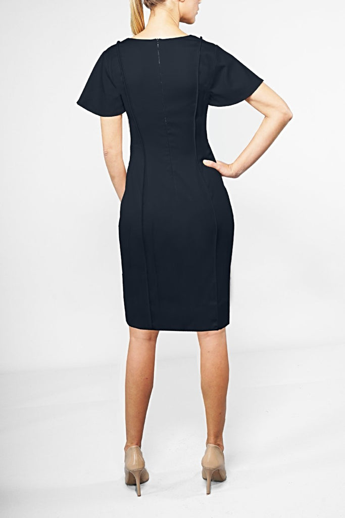 Navy Wool Tailored Dress - V Neck Full Sleeve