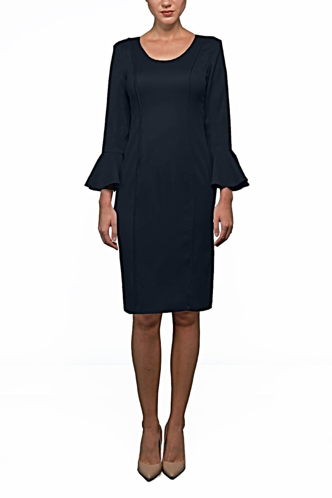 Navy Italian Wool Tailored Dress
