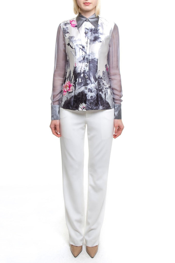 Floral Watercolor Silver Blouse