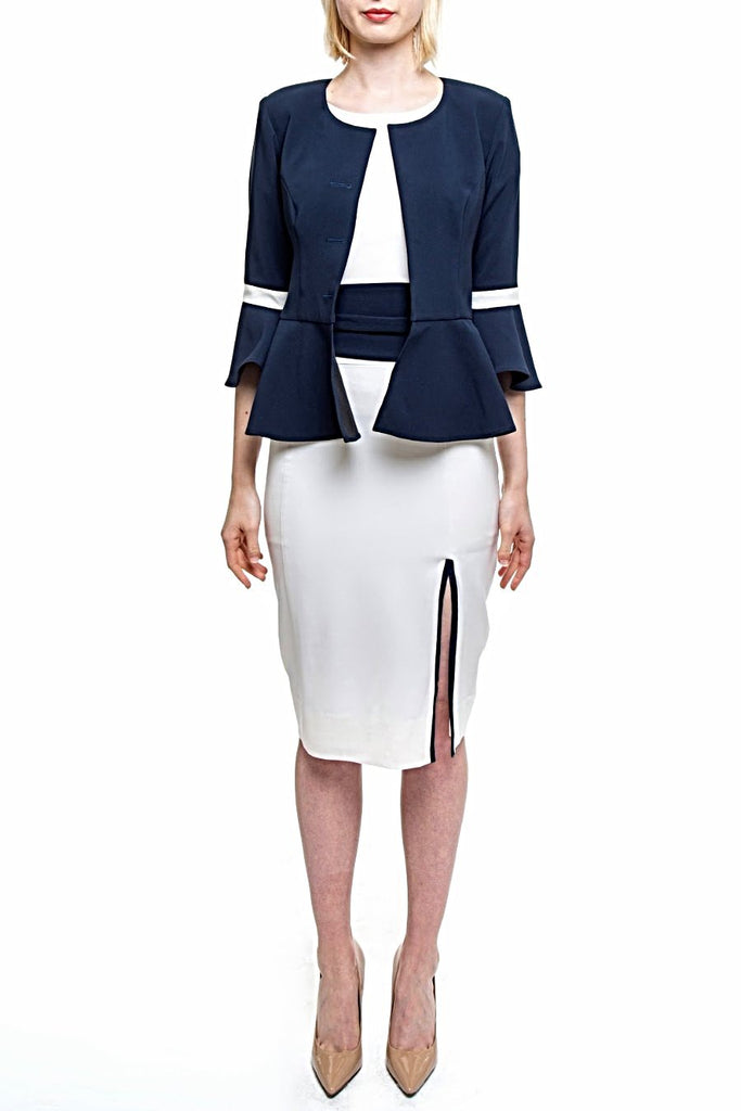 Angie Lau Navy Frilled Box Jacket