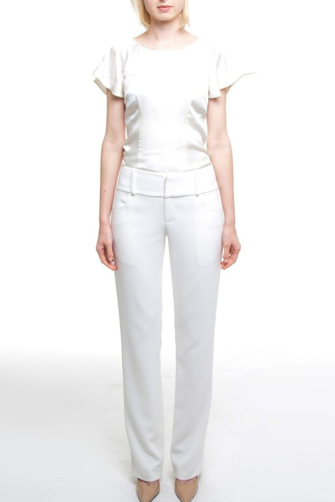 White Linen Look Crepe Trouser