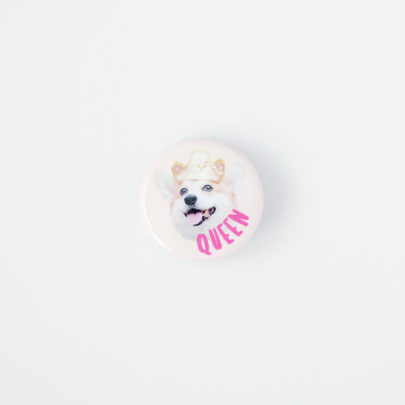 "Sneakers the Corgi ""Queen"" Photo Pin Button"