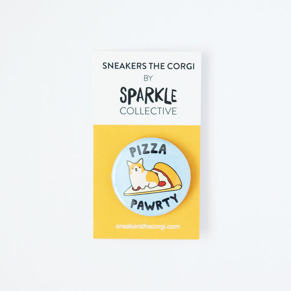 "Sneakers the Corgi ""Pizza Pawrty"" 1.5"" Pinback Button"