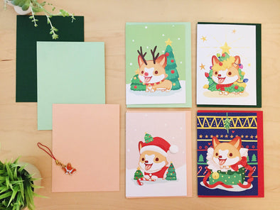 Sneakers the Corgi Holiday Greeting Cards