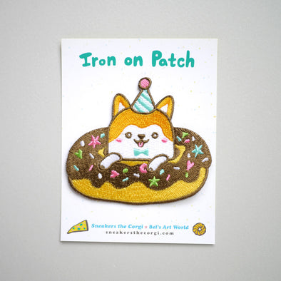 Sneakers the Corgi Iron-On Patch: Doughnut