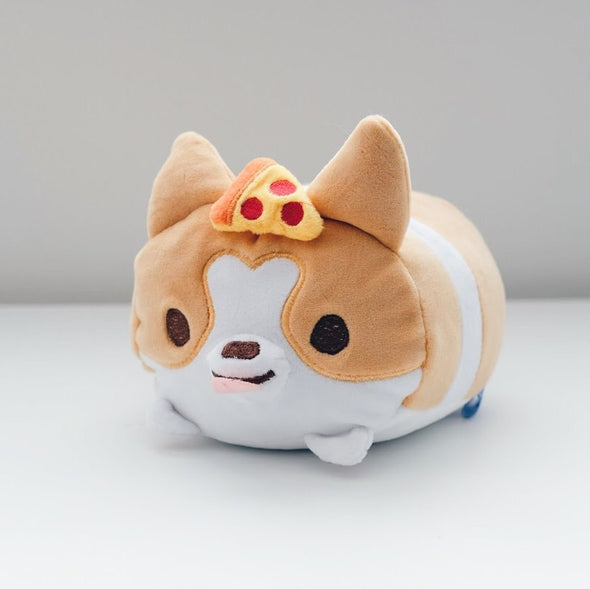 "Sneakers the Corgi Super Fluffy 6.5"" Plush with Pizza"