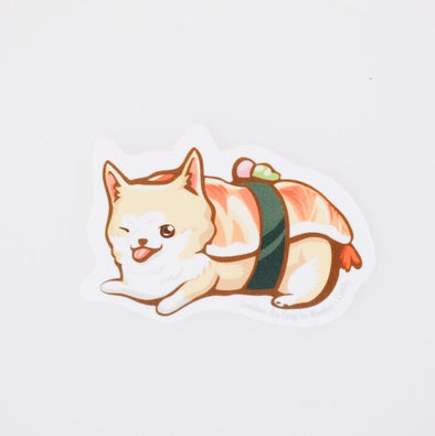 Sneakers the Corgi Vinyl Sticker: Sushi