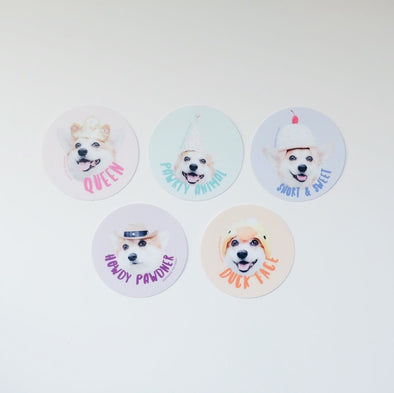 Sneakers the Corgi Photo Faces 5-Sticker Set
