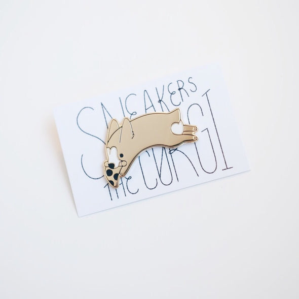 Sneakers the Corgi Gold-Tone Enamel Pin
