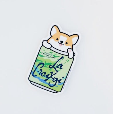 Sneakers the Corgi La Croixgi Sticker - Canine Lime