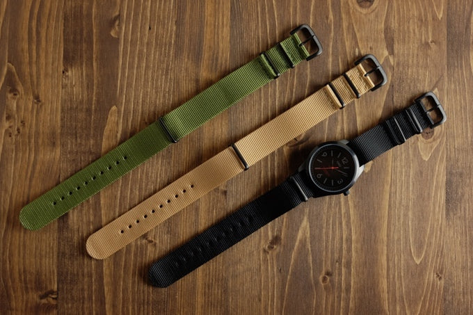 100% nylon straps available in black, tan and green