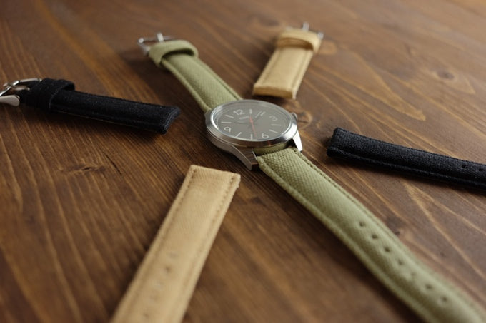 Canvas straps available in black, tan and green