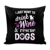 Pillow Cover - Wine & Dogs