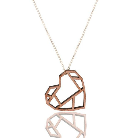 Woodlen laser-cut heart shaped pendant Pico Design by Andrea Panico