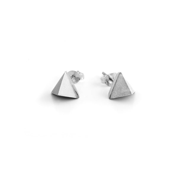 Oxidized Pyramid Stud Earrings