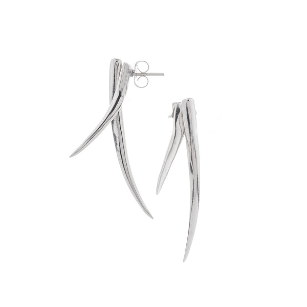 Tusk Earrings, Silver