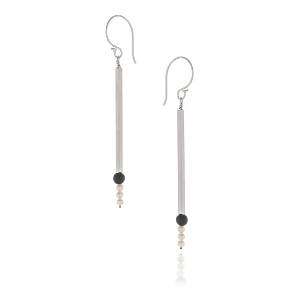 Pearl and Onyx Line Earrings