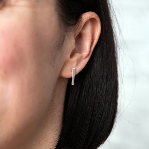 Short Box Earrings on Woman