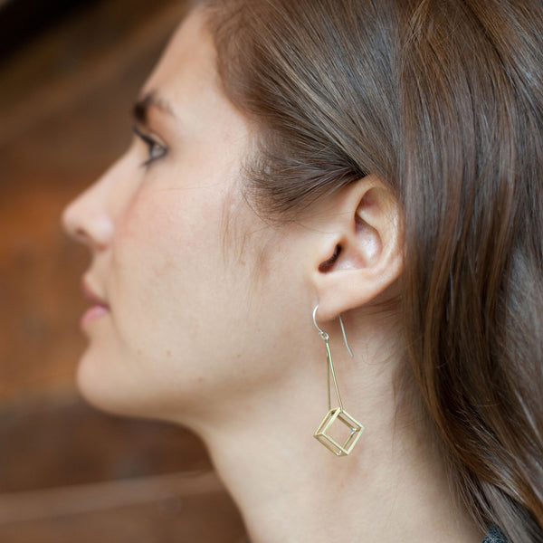Cube Drop Earrings Brass on Woman