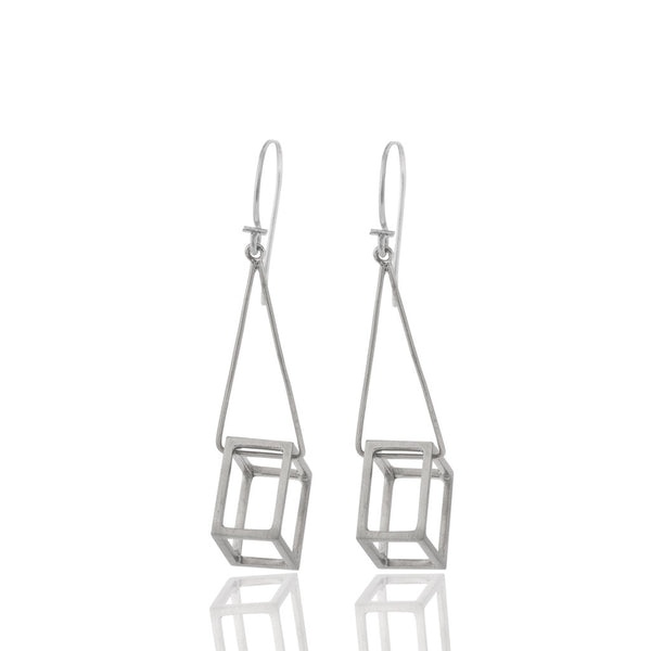 Cube Drop Earrings Silver
