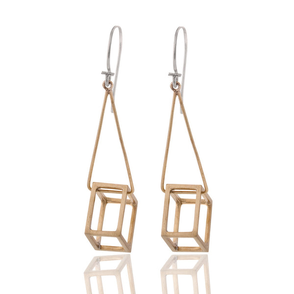 Cube Drop Earrings Brass